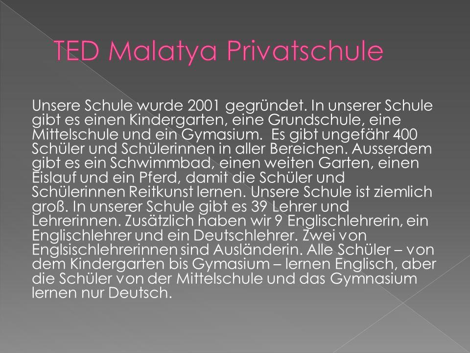 Unsere Schule wurde 2001 gegründet. In unserer Schule gibt es einen Kindergarten, eine Grundschule, eine Mittelschule und ein Gymasium. Es gibt ungefä