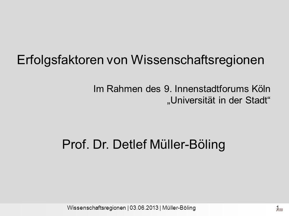 Wissenschaftsregionen | 03.06.2013 | Müller-Böling Erfolgsfaktoren von Wissenschaftsregionen Im Rahmen des 9. Innenstadtforums Köln Universität in der