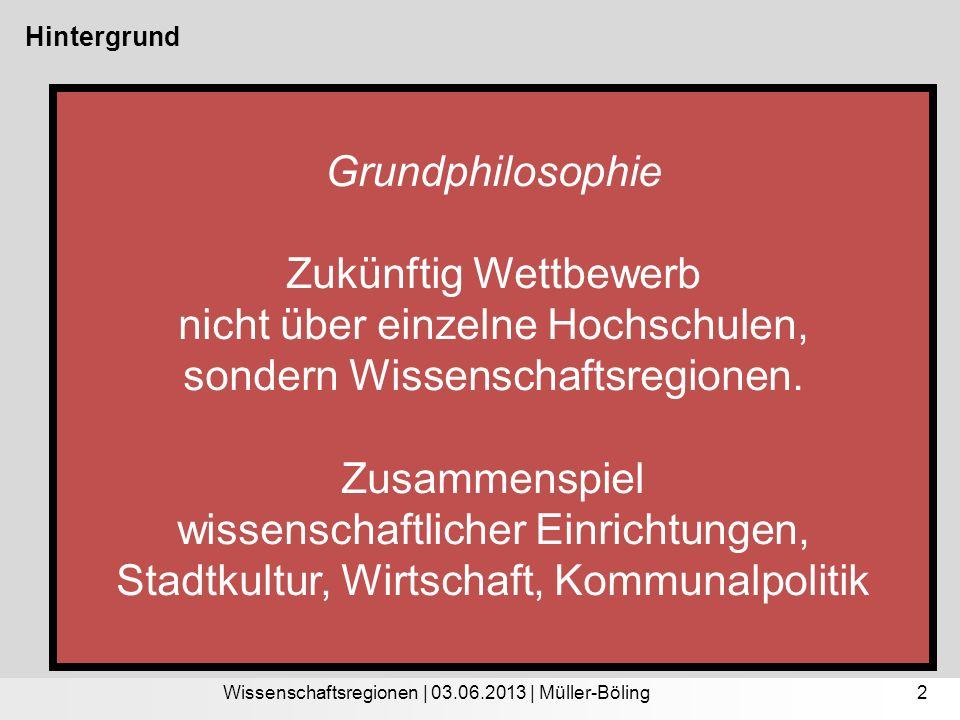 Studie Erfolgsfaktoren wissenschaftlicher Metropolregionen Moderation: Masterplan Wissenschaft der Stadt Dortmund Hintergrund Grundphilosophie Zukünftig Wettbewerb nicht über einzelne Hochschulen, sondern Wissenschaftsregionen.