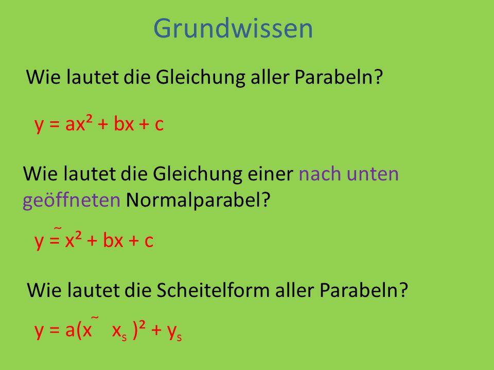 Grundwissen Wie lautet die Gleichung aller Parabeln.