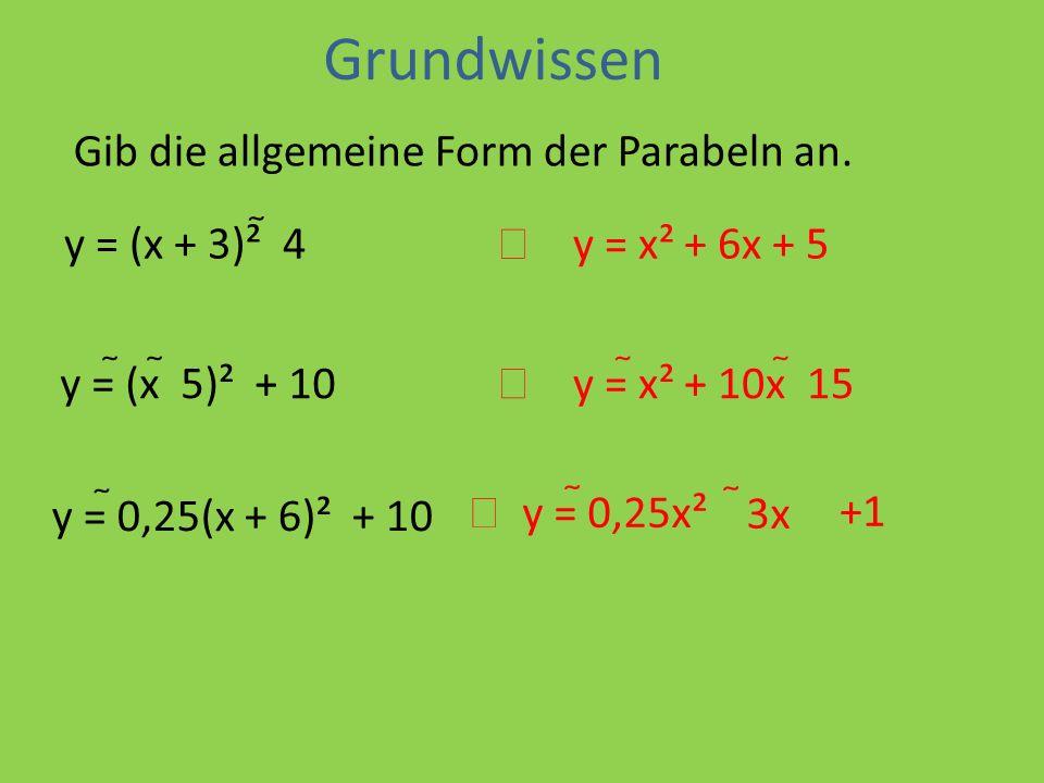 Gib die allgemeine Form der Parabeln an.