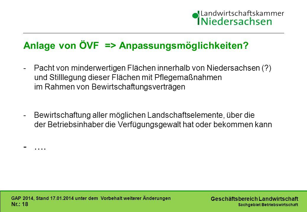 Geschäftsbereich Landwirtschaft Sachgebiet Betriebswirtschaft GAP 2014, Stand 17.01.2014 unter dem Vorbehalt weiterer Änderungen Nr.: 18 Anlage von ÖVF => Anpassungsmöglichkeiten.