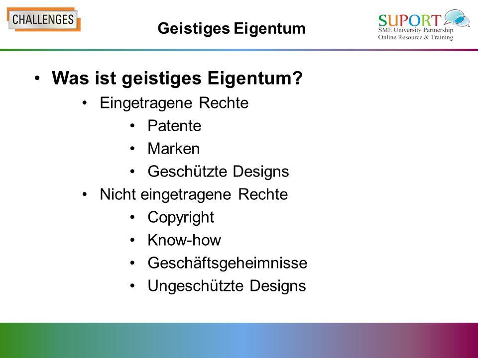Was ist geistiges Eigentum? Eingetragene Rechte Patente Marken Geschützte Designs Nicht eingetragene Rechte Copyright Know-how Geschäftsgeheimnisse Un