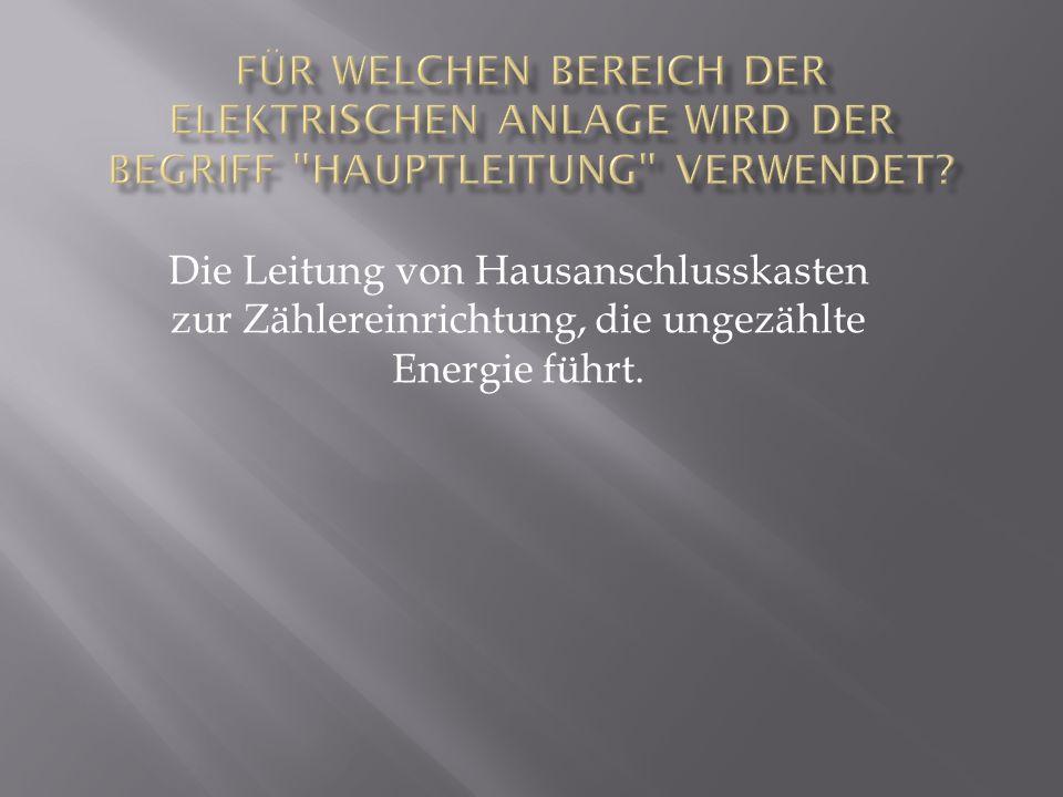 Die Leitung von Hausanschlusskasten zur Zählereinrichtung, die ungezählte Energie führt.
