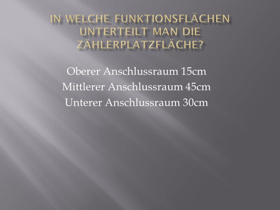Oberer Anschlussraum 15cm Mittlerer Anschlussraum 45cm Unterer Anschlussraum 30cm