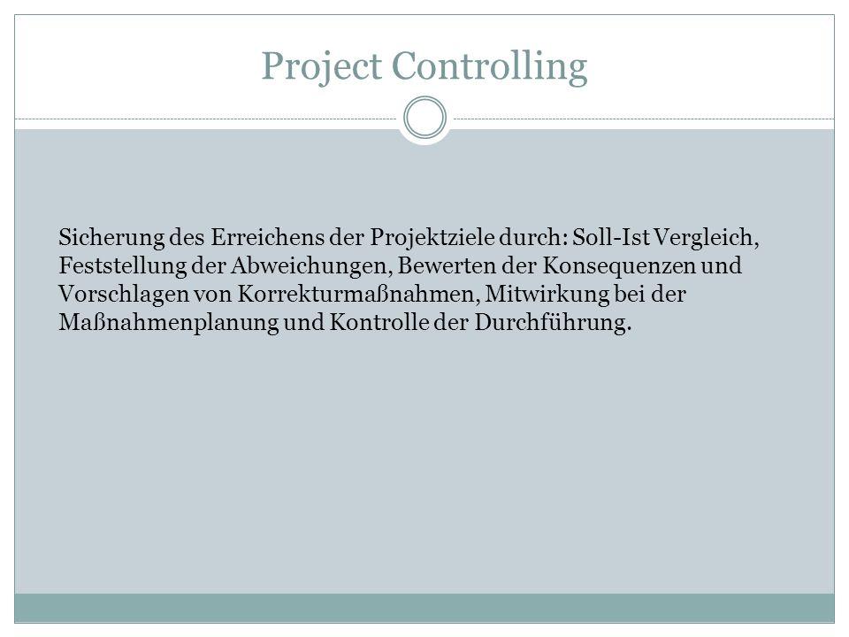 Project Controlling Sicherung des Erreichens der Projektziele durch: Soll-Ist Vergleich, Feststellung der Abweichungen, Bewerten der Konsequenzen und