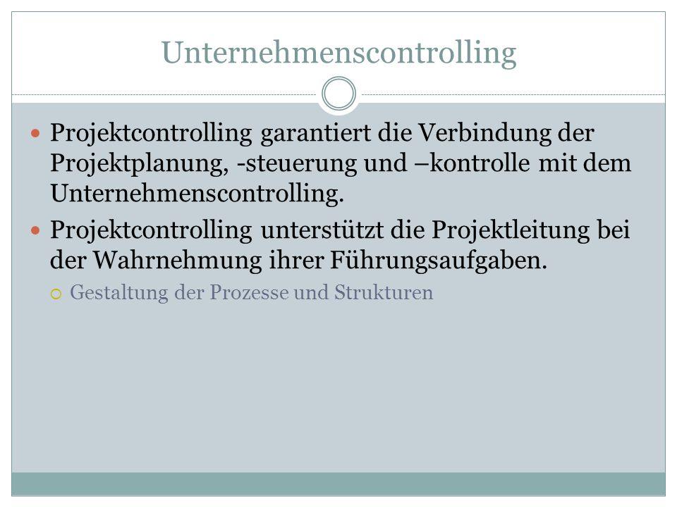Unternehmenscontrolling Projektcontrolling garantiert die Verbindung der Projektplanung, -steuerung und –kontrolle mit dem Unternehmenscontrolling. Pr