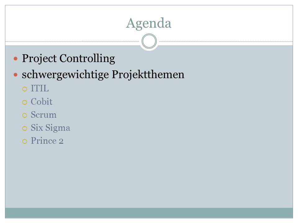 Agenda Project Controlling schwergewichtige Projektthemen ITIL Cobit Scrum Six Sigma Prince 2