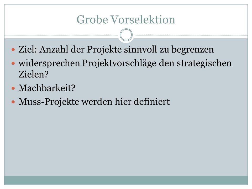 Grobe Vorselektion Ziel: Anzahl der Projekte sinnvoll zu begrenzen widersprechen Projektvorschläge den strategischen Zielen? Machbarkeit? Muss-Projekt
