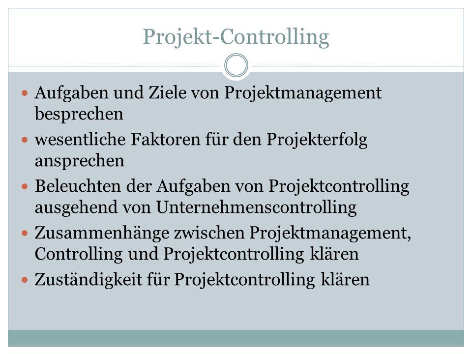Projekt-Controlling Aufgaben und Ziele von Projektmanagement besprechen wesentliche Faktoren für den Projekterfolg ansprechen Beleuchten der Aufgaben