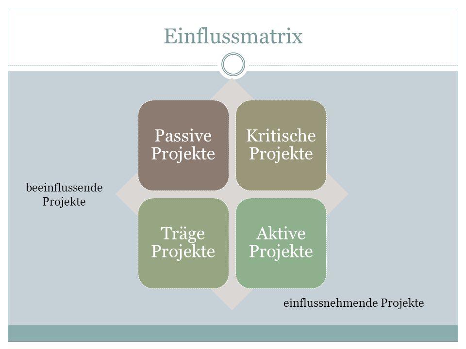 Einflussmatrix Passive Projekte Kritische Projekte Träge Projekte Aktive Projekte beeinflussende Projekte einflussnehmende Projekte