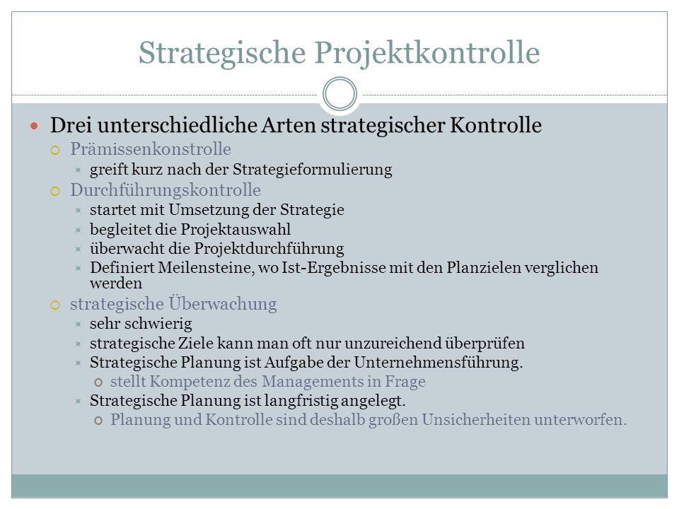 Strategische Projektkontrolle Drei unterschiedliche Arten strategischer Kontrolle Prämissenkonstrolle greift kurz nach der Strategieformulierung Durch