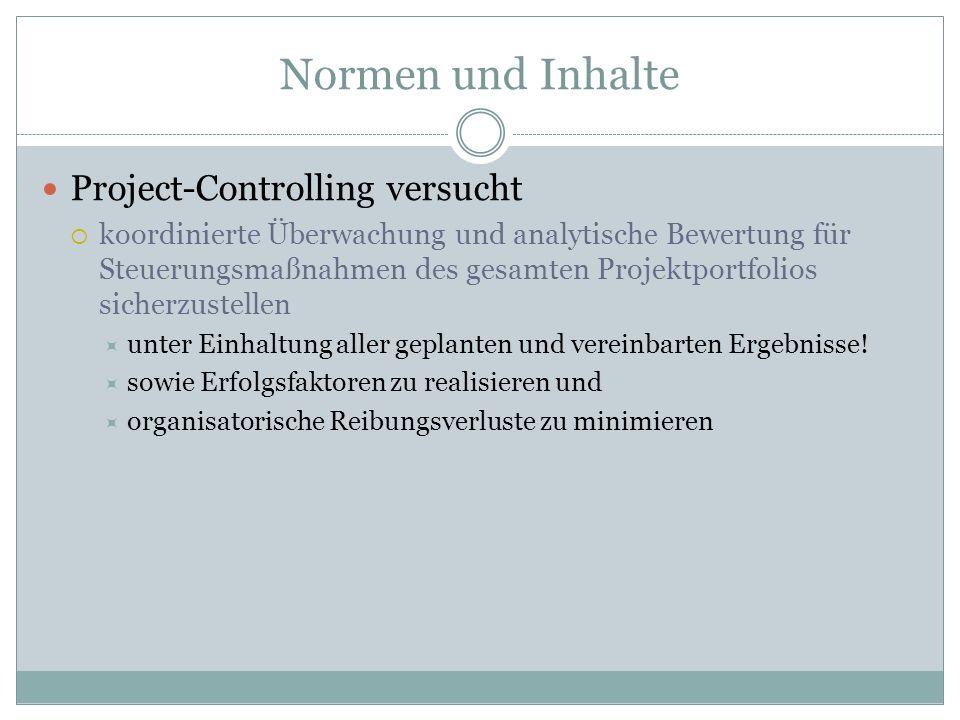 Normen und Inhalte Project-Controlling versucht koordinierte Überwachung und analytische Bewertung für Steuerungsmaßnahmen des gesamten Projektportfol