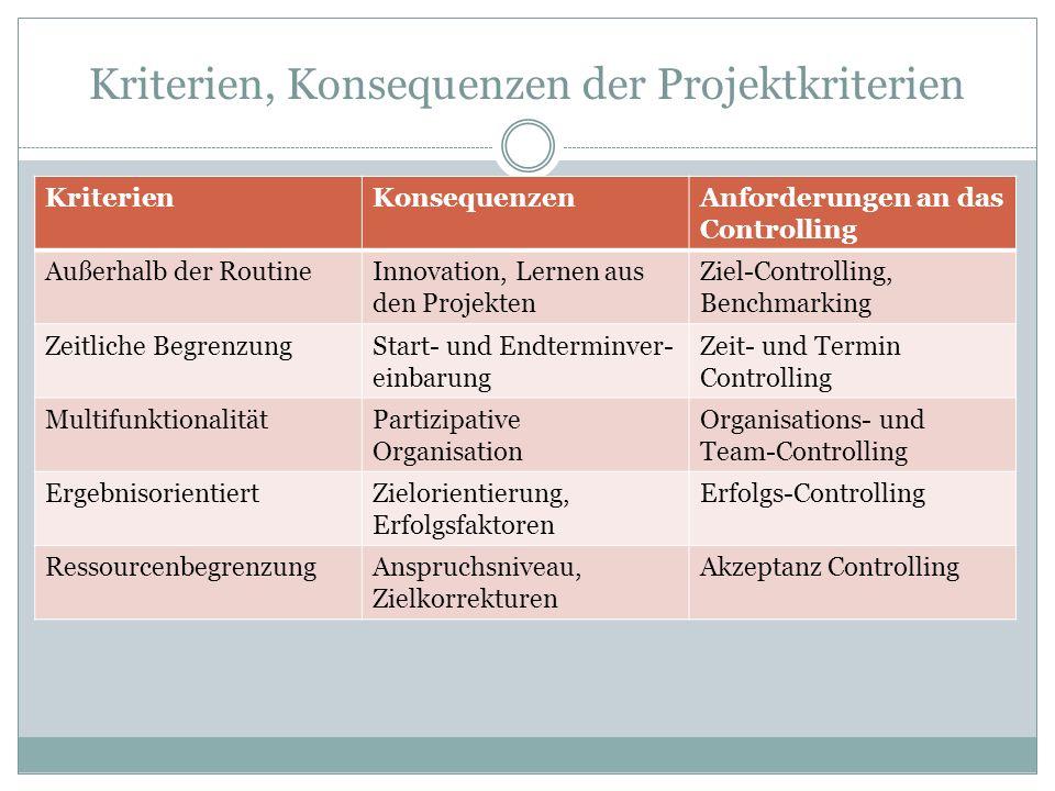 Kriterien, Konsequenzen der Projektkriterien KriterienKonsequenzenAnforderungen an das Controlling Außerhalb der RoutineInnovation, Lernen aus den Pro