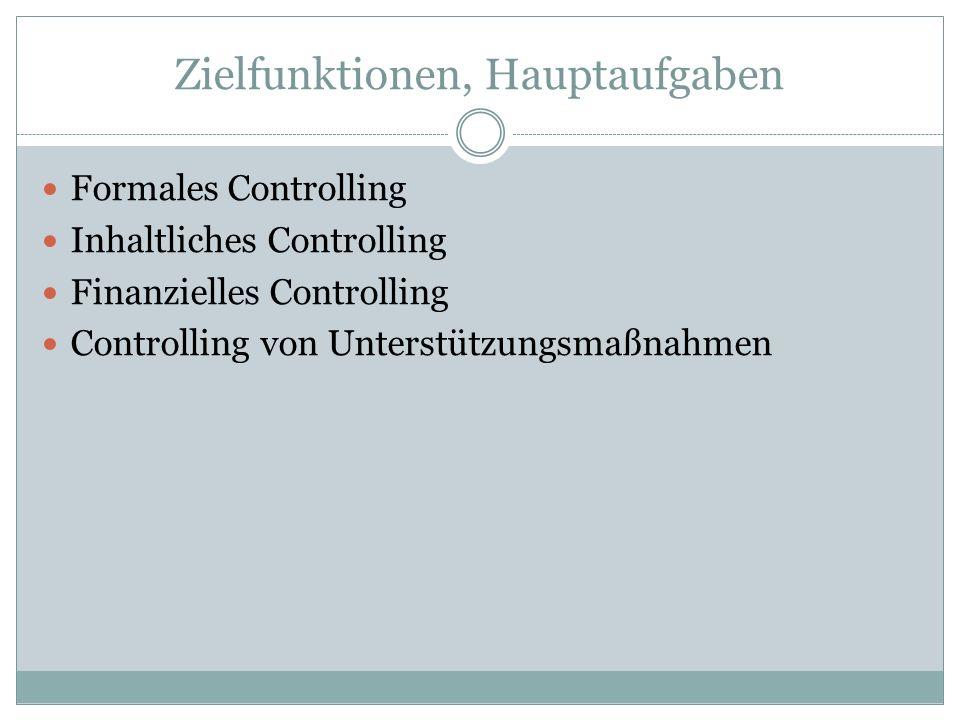 Zielfunktionen, Hauptaufgaben Formales Controlling Inhaltliches Controlling Finanzielles Controlling Controlling von Unterstützungsmaßnahmen