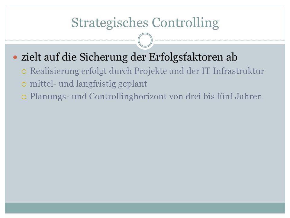 Strategisches Controlling zielt auf die Sicherung der Erfolgsfaktoren ab Realisierung erfolgt durch Projekte und der IT Infrastruktur mittel- und lang