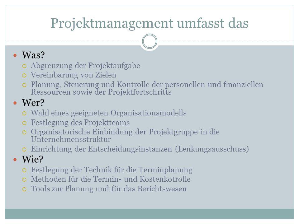 Projektmanagement umfasst das Was? Abgrenzung der Projektaufgabe Vereinbarung von Zielen Planung, Steuerung und Kontrolle der personellen und finanzie