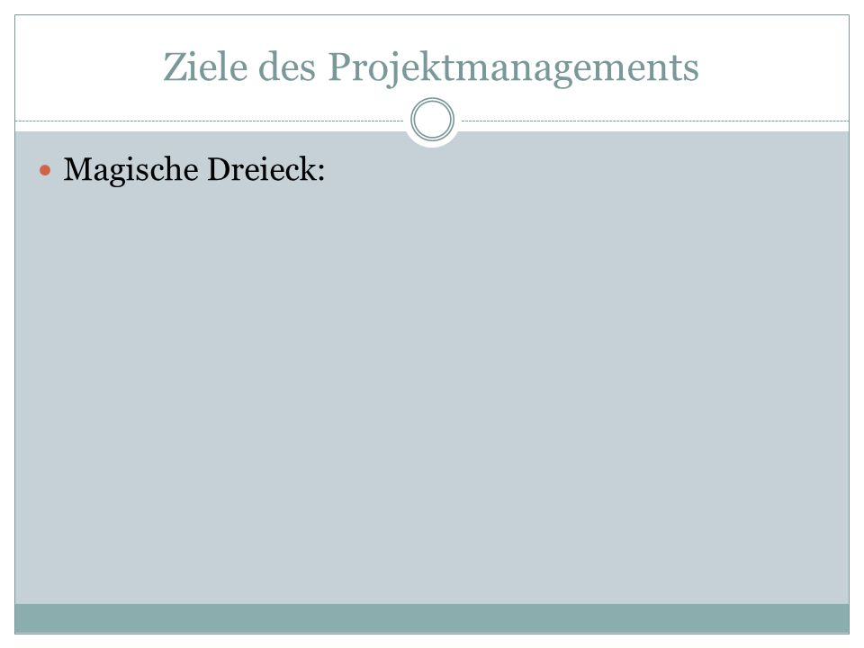 Ziele des Projektmanagements Magische Dreieck: