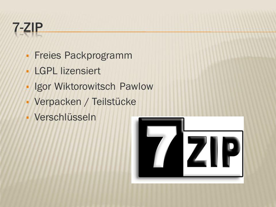 Freies Packprogramm LGPL lizensiert Igor Wiktorowitsch Pawlow Verpacken / Teilstücke Verschlüsseln