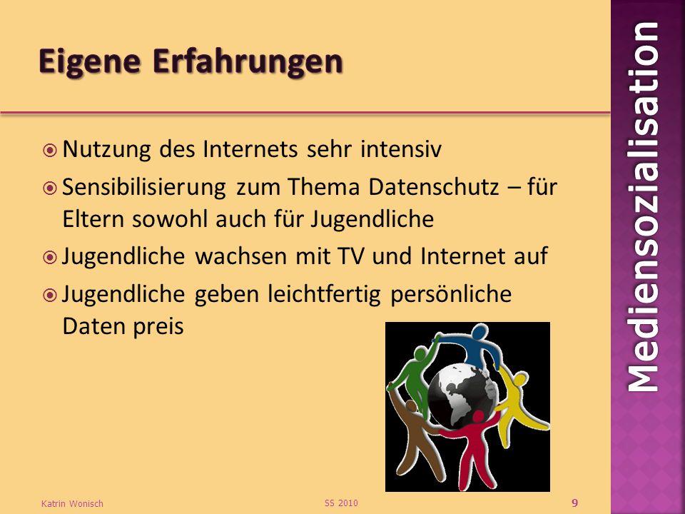 Nutzung des Internets sehr intensiv Sensibilisierung zum Thema Datenschutz – für Eltern sowohl auch für Jugendliche Jugendliche wachsen mit TV und Int