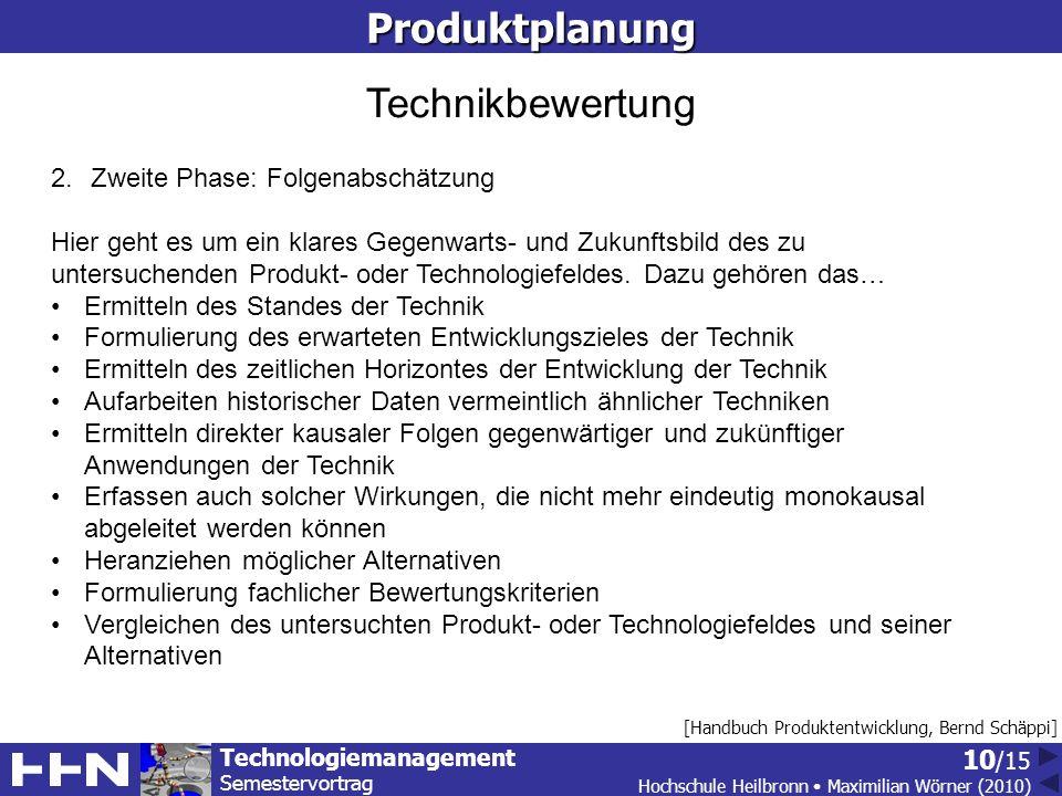 Technologiemanagement Semestervortrag Hochschule Heilbronn Maximilian Wörner (2010) 10 /15Produktplanung [Handbuch Produktentwicklung, Bernd Schäppi] Technikbewertung 2.Zweite Phase: Folgenabschätzung Hier geht es um ein klares Gegenwarts- und Zukunftsbild des zu untersuchenden Produkt- oder Technologiefeldes.