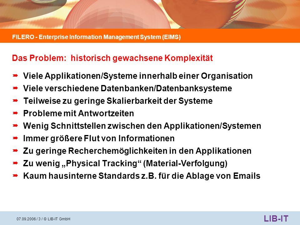 FILERO - Enterprise Information Management System (EIMS) LIB-IT 07.09.2006 / 4 / © LIB-IT GmbH 20-30% herkömmliche Post mit organisierter Ablage in Ordnern/Registern etc.