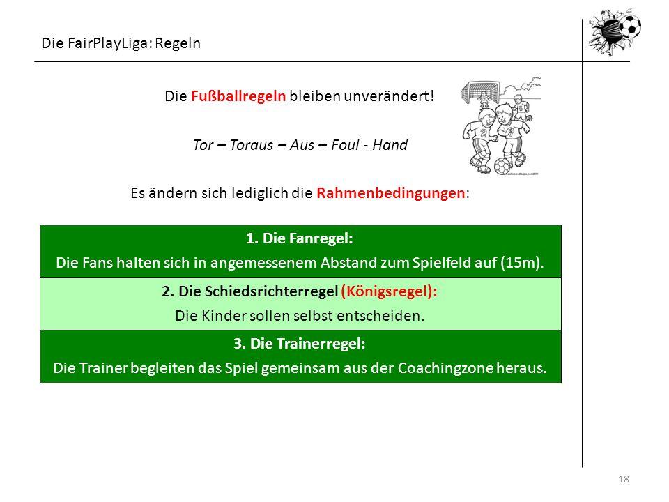 Die FairPlayLiga: Regeln 16.05.201418 1. Die Fanregel: Die Fans halten sich in angemessenem Abstand zum Spielfeld auf (15m). 2. Die Schiedsrichterrege