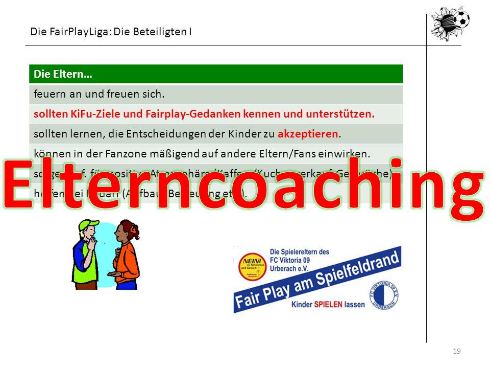 Die FairPlayLiga: Die Beteiligten I 19 Die Eltern… feuern an und freuen sich. sollten KiFu-Ziele und Fairplay-Gedanken kennen und unterstützen. sollte