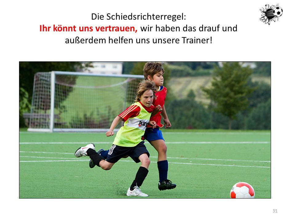 16.05.201431 Die Schiedsrichterregel: Ihr könnt uns vertrauen, wir haben das drauf und außerdem helfen uns unsere Trainer!