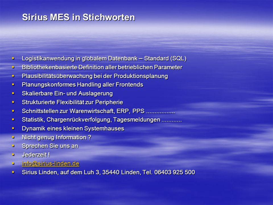 Sirius MES in Stichworten Logistikanwendung in globalem Datenbank – Standard (SQL) Logistikanwendung in globalem Datenbank – Standard (SQL) Bibliothekenbasierte Definition aller betrieblichen Parameter Bibliothekenbasierte Definition aller betrieblichen Parameter Plausibilitätsüberwachung bei der Produktionsplanung Plausibilitätsüberwachung bei der Produktionsplanung Planungskonformes Handling aller Frontends Planungskonformes Handling aller Frontends Skalierbare Ein- und Auslagerung Skalierbare Ein- und Auslagerung Strukturierte Flexibilität zur Peripherie Strukturierte Flexibilität zur Peripherie Schnittstellen zur Warenwirtschaft, ERP, PPS.................