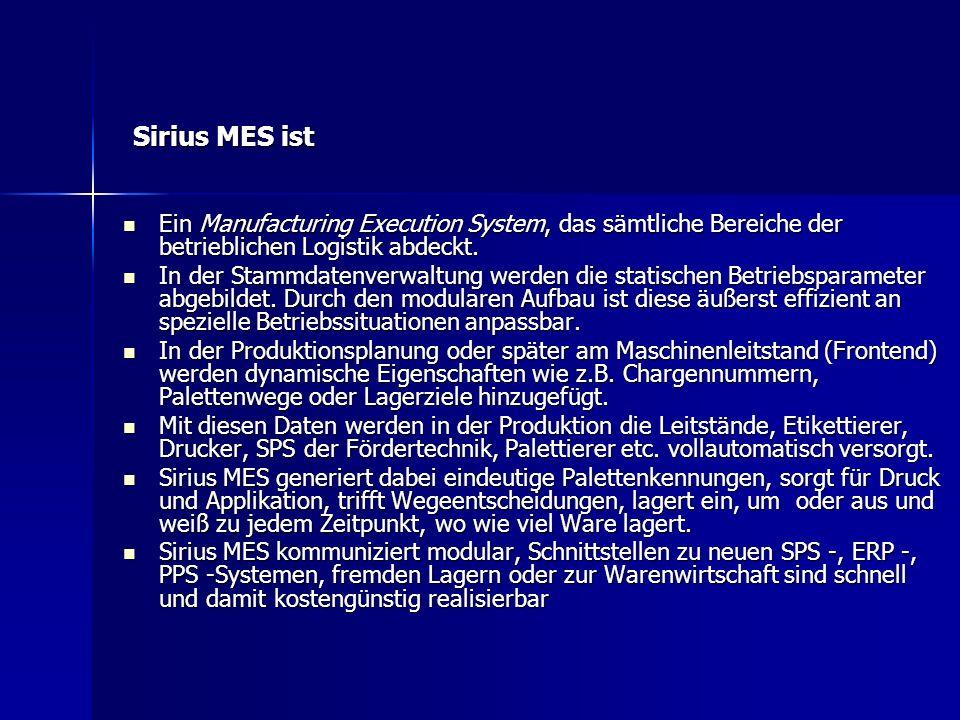Sirius MES ist Ein Manufacturing Execution System, das sämtliche Bereiche der betrieblichen Logistik abdeckt.