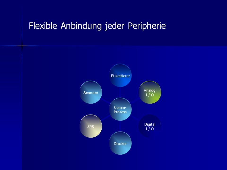 Comm- Prozess Etikettierer Analog I / O Digital I / O DruckerSPS Scanner Flexible Anbindung jeder Peripherie
