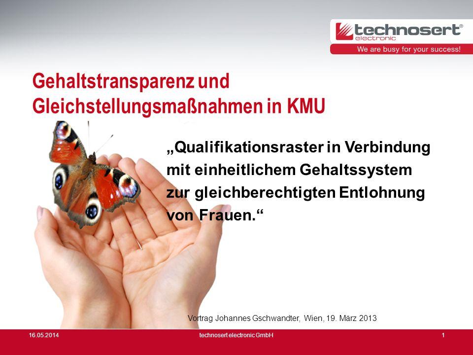 16.05.2014technosert electronic GmbH1 Gehaltstransparenz und Gleichstellungsmaßnahmen in KMU Qualifikationsraster in Verbindung mit einheitlichem Geha