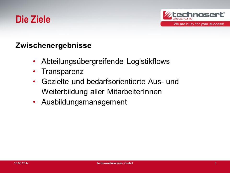 16.05.2014technosert electronic GmbH3 Die Ziele Abteilungsübergreifende Logistikflows Transparenz Gezielte und bedarfsorientierte Aus- und Weiterbildu