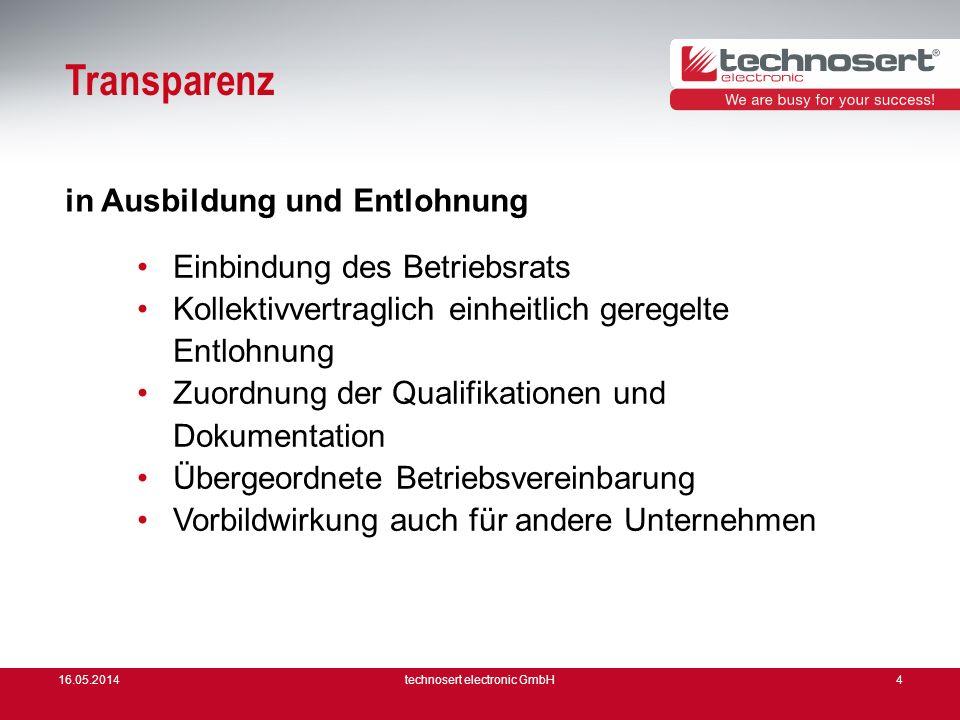 16.05.2014technosert electronic GmbH4 Transparenz Einbindung des Betriebsrats Kollektivvertraglich einheitlich geregelte Entlohnung Zuordnung der Qual