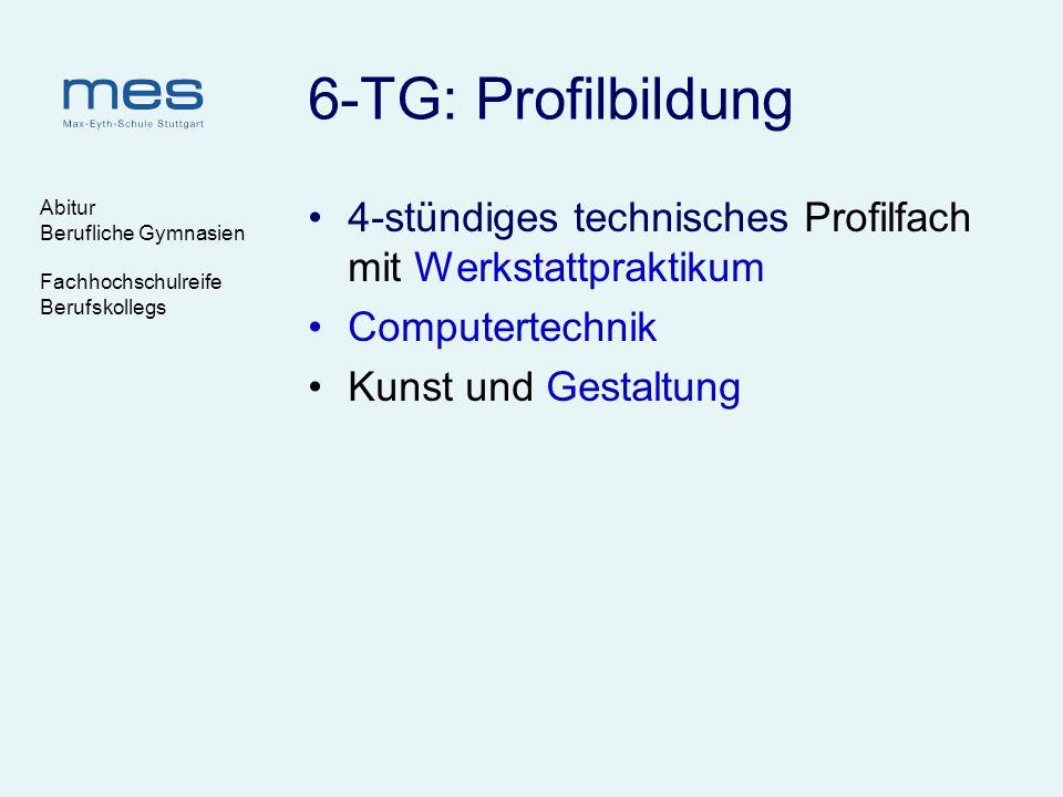 Abitur Berufliche Gymnasien Fachhochschulreife Berufskollegs 6-TG: Profilbildung 4-stündiges technisches Profilfach mit Werkstattpraktikum Computertec