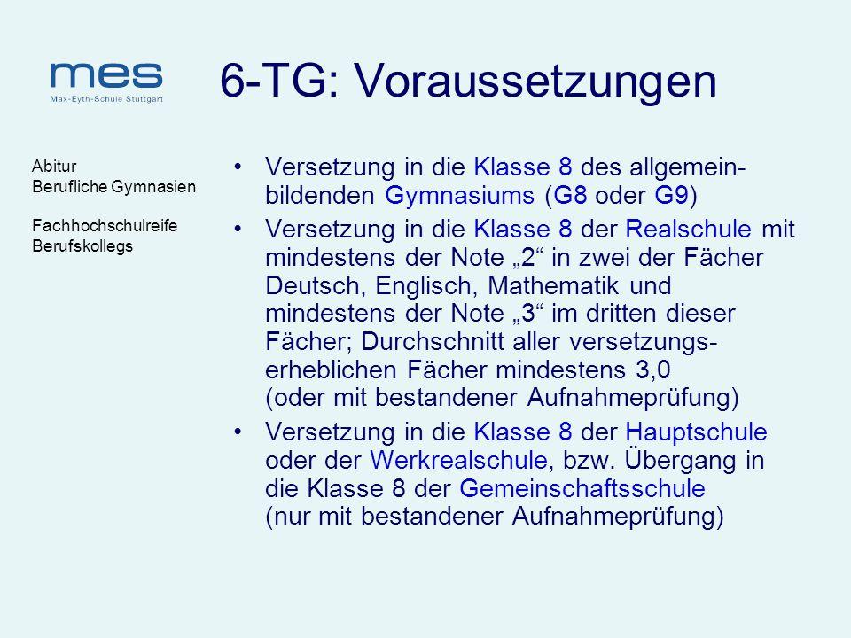 Abitur Berufliche Gymnasien Fachhochschulreife Berufskollegs 6-TG: Voraussetzungen Versetzung in die Klasse 8 des allgemein- bildenden Gymnasiums (G8