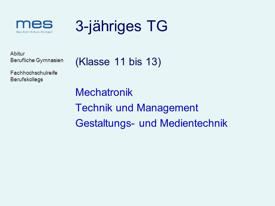 Abitur Berufliche Gymnasien Fachhochschulreife Berufskollegs 3-jähriges TG (Klasse 11 bis 13) Mechatronik Technik und Management Gestaltungs- und Medi