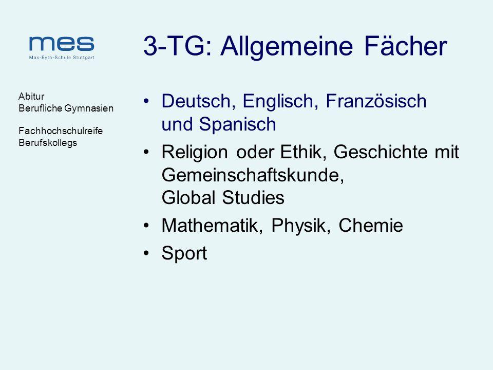 Abitur Berufliche Gymnasien Fachhochschulreife Berufskollegs 3-TG: Allgemeine Fächer Deutsch, Englisch, Französisch und Spanisch Religion oder Ethik,