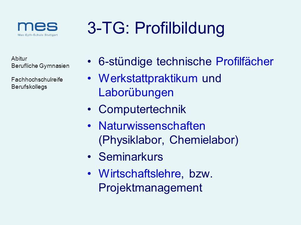 Abitur Berufliche Gymnasien Fachhochschulreife Berufskollegs 3-TG: Profilbildung 6-stündige technische Profilfächer Werkstattpraktikum und Laborübunge
