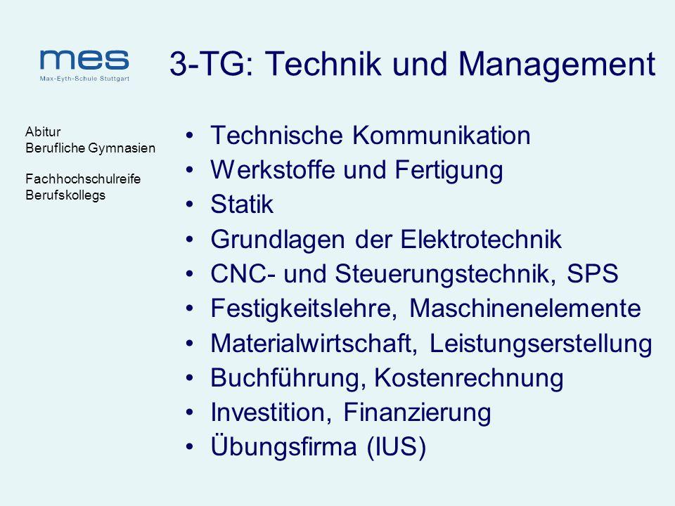 Abitur Berufliche Gymnasien Fachhochschulreife Berufskollegs 3-TG: Technik und Management Technische Kommunikation Werkstoffe und Fertigung Statik Gru