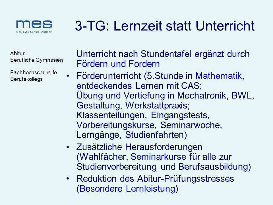 Abitur Berufliche Gymnasien Fachhochschulreife Berufskollegs 3-TG: Lernzeit statt Unterricht Unterricht nach Stundentafel ergänzt durch Fördern und Fo