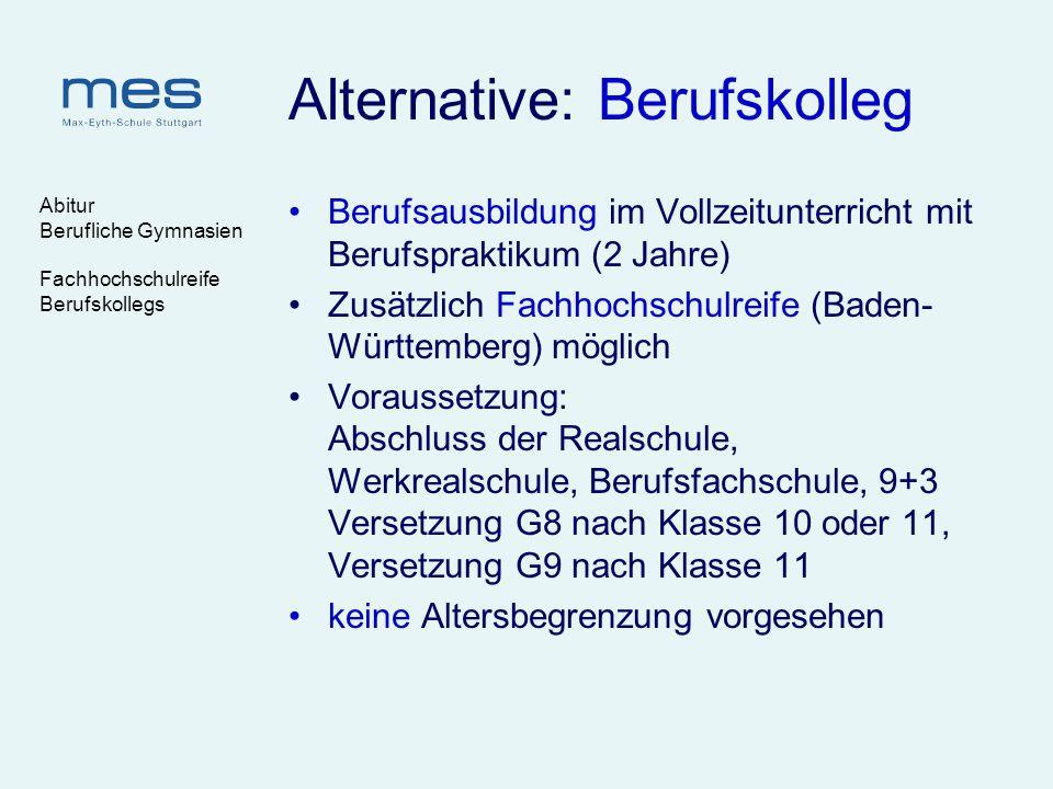 Abitur Berufliche Gymnasien Fachhochschulreife Berufskollegs Alternative: Berufskolleg Berufsausbildung im Vollzeitunterricht mit Berufspraktikum (2 J