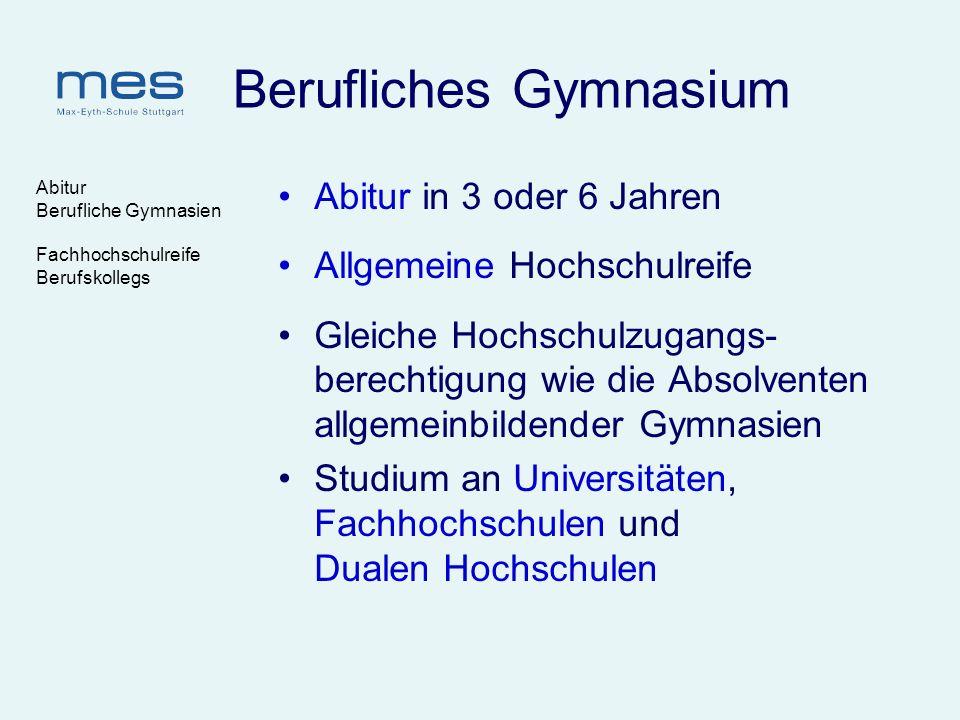 Abitur Berufliche Gymnasien Fachhochschulreife Berufskollegs Berufliches Gymnasium Abitur in 3 oder 6 Jahren Allgemeine Hochschulreife Gleiche Hochsch