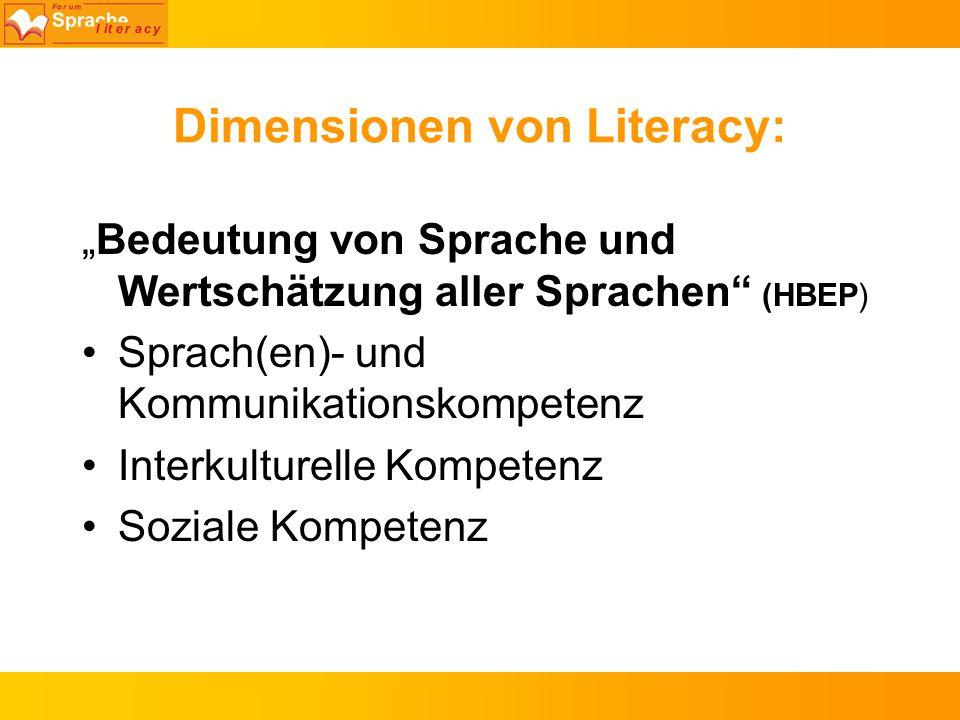 Dimensionen von Literacy: Bedeutung von Sprache und Wertschätzung aller Sprachen (HBEP) Sprach(en)- und Kommunikationskompetenz Interkulturelle Kompet