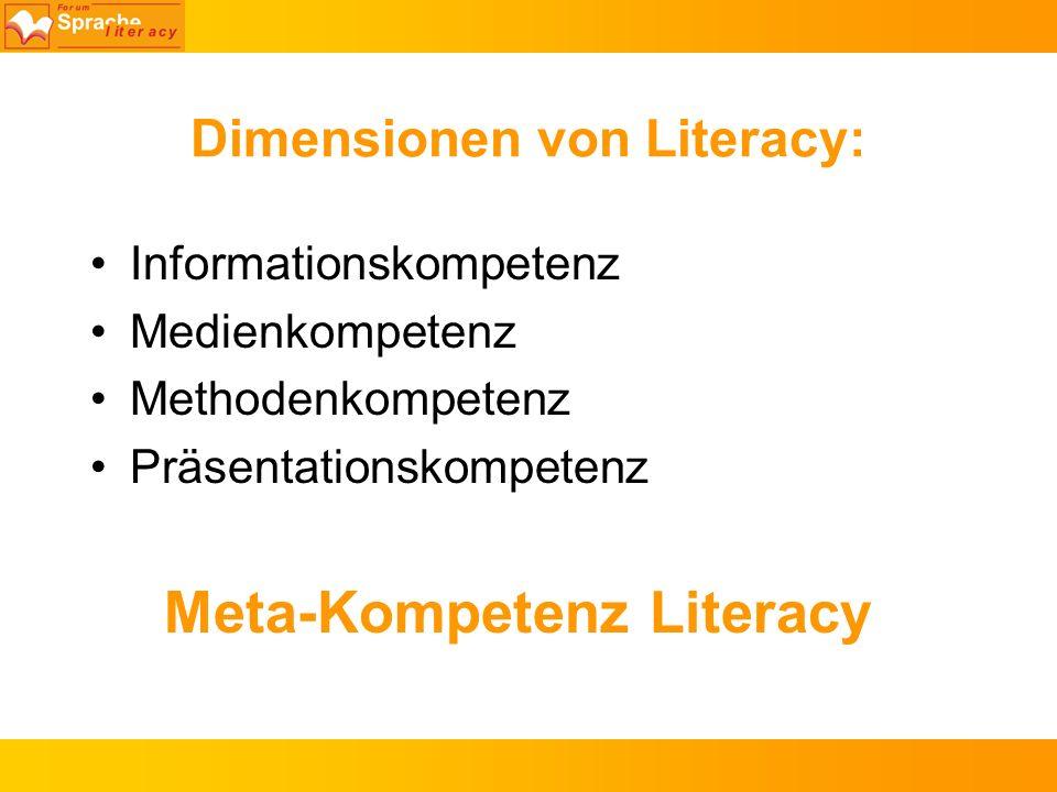 Dimensionen von Literacy: Informationskompetenz Medienkompetenz Methodenkompetenz Präsentationskompetenz Meta-Kompetenz Literacy
