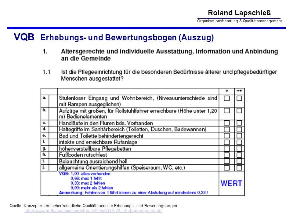 Roland Lapschieß Organisationsberatung & Qualitätsmanagement VQB Erhebungs- und Bewertungsbogen (Auszug) Quelle: Konzept Verbraucherfreundliche Qualit
