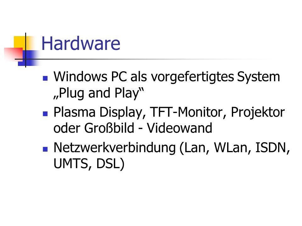 Hardware Windows PC als vorgefertigtes System Plug and Play Plasma Display, TFT-Monitor, Projektor oder Großbild - Videowand Netzwerkverbindung (Lan, WLan, ISDN, UMTS, DSL)
