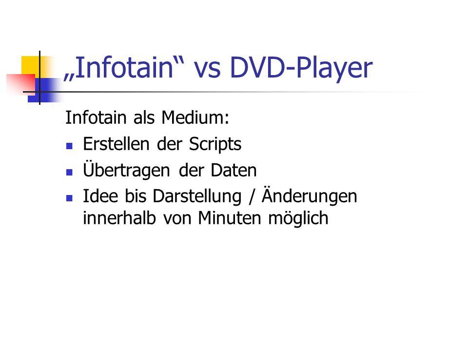 Infotain vs DVD-Player Infotain als Medium: Erstellen der Scripts Übertragen der Daten Idee bis Darstellung / Änderungen innerhalb von Minuten möglich