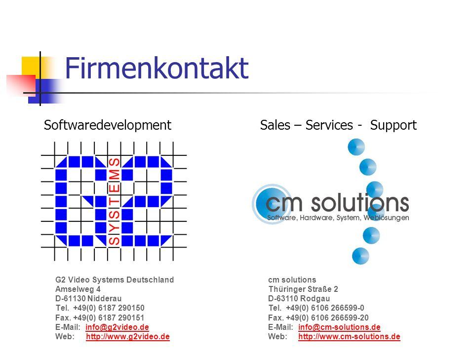 Firmenkontakt G2 Video Systems Deutschland Amselweg 4 D-61130 Nidderau Tel.+49(0) 6187 290150 Fax.